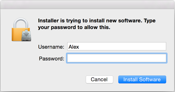 Entering the admin's password to install Teentor for Mac OS