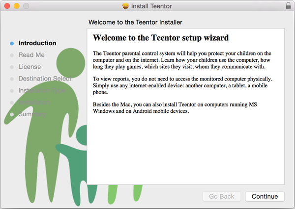 Teentor setup wizard on Mac OS