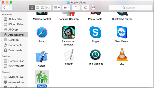 Deleting Teentor for Mac OS