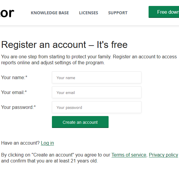 Registering a Teentor account